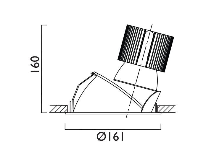 VP X161 Lens Wallwasher Line Drawing